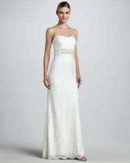 Badgley Mischka Strapless Gown with Beaded Belt