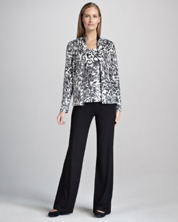 Neiman Marcus Animal-Print Jacket, Tank & Pants Set