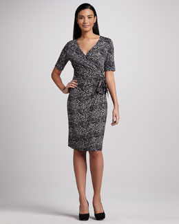 Neiman Marcus Side-Tie Print Dress