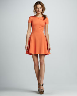 Halston Heritage Cross-Neck Short-Sleeve Dress