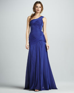 Halston Heritage Ruched One-Shoulder Gown