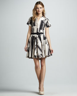 Halston Heritage Belted Printed Dress