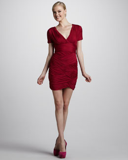 Halston Heritage Ruched Crisscross Dress, Raspberry
