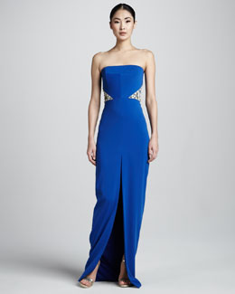 Badgley Mischka Strapless Beaded Gown