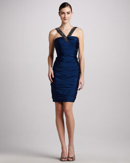 Carmen Marc Valvo Bead-Neck Ruched Cocktail Dress