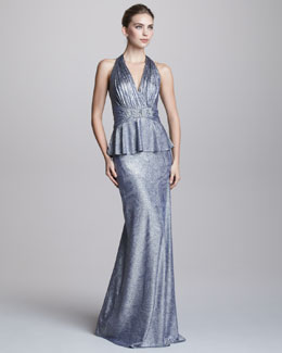 David Meister Metallic Halter-Neck Peplum Gown