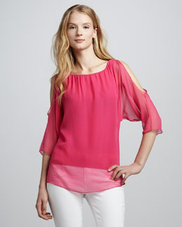 Bailey 44 Trampoline Sheer-Overlay Top