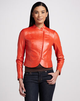 Bagatelle Leather Asymmetric-Zip  Jacket