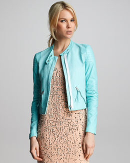 Rebecca Taylor Snake-Embossed Leather Jacket