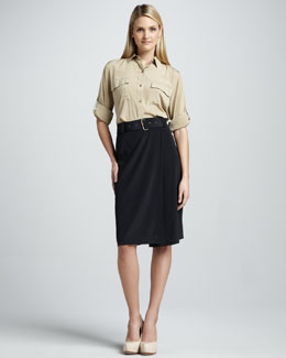 DKNY Long-Sleeve Belted Shirt Dress