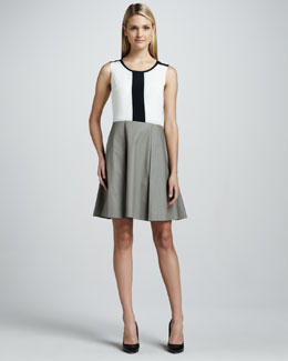 DKNY Colorblocked Sleeveless Fit-and-Flare Dress