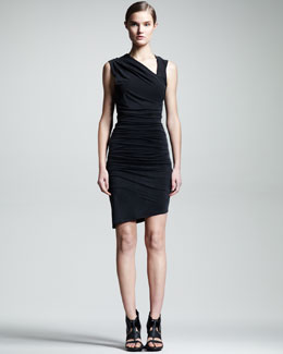 HELMUT Helmut Lang Ruched Asymmetric Dress