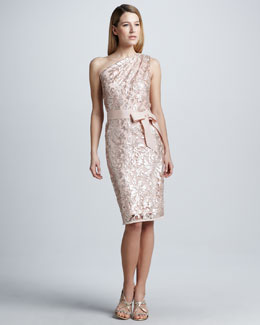 Tadashi Shoji Sequined Lace One-Shoulder Cocktail Dress