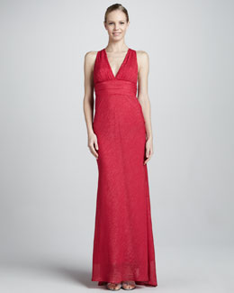 Nicole Miller Metallic Brushstroke V-Neck Gown