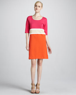 Joan Vass Colorblock Interlock Dress, Petite