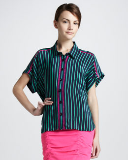 Nanette Lepore Striped Button-Down Blouse