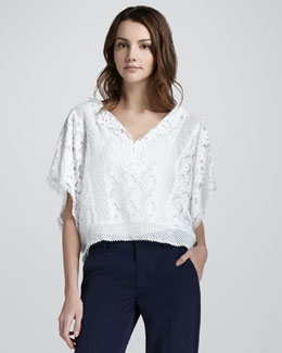 Nanette Lepore Beauty Mixed-Lace Cropped Top