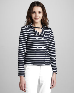 Nanette Lepore Striped Double-Breasted Knit Jacket