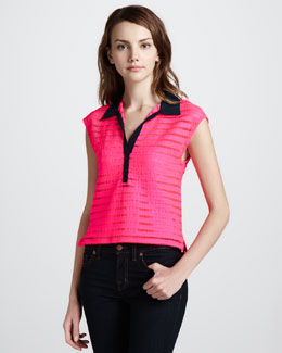 Nanette Lepore Auction Sheer-Stripe Top, Shocking Pink
