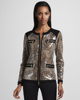 Neiman Marcus Sequined Animal-Print Jogging Suit