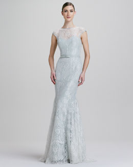 Theia Fit-and-Flare Metallic Lace Illusion Gown