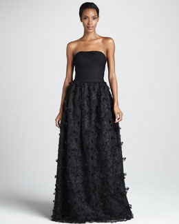 ML Monique Lhuillier Strapless Petal-Skirt Ball Gown