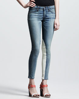 rag & bone/JEAN Jodhpur Leather-Panel Jeans
