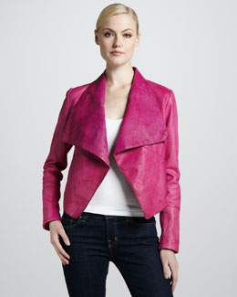 Neiman Marcus Perforated Draped Leather Jacket