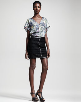 Kelly Wearstler Microcosm Leather-Trim Lace Skirt