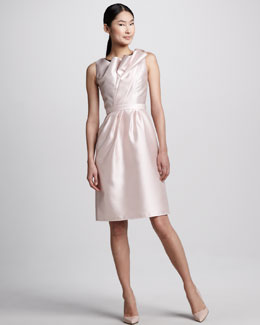 Carmen Marc Valvo Tulip-Neck Cocktail Dress