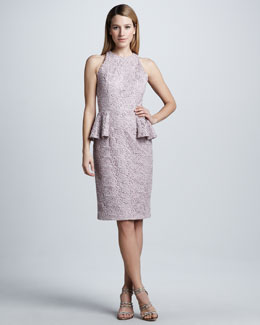Carmen Marc Valvo Lace Peplum Cocktail Dress