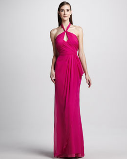 Badgley Mischka Draped Silk Halter Gown