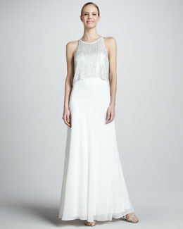 Aidan Mattox Sequin-Top Sleeveless Popover Gown