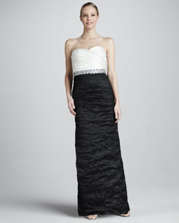 Aidan Mattox Ruched Metallic Two-Tone Strapless Sweetheart Gown