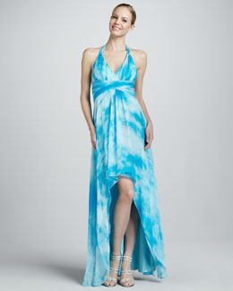 Aidan Mattox High-Low Printed Chiffon Halter Gown