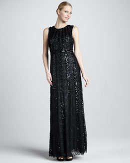 Aidan Mattox Beaded Lace Illusion Gown