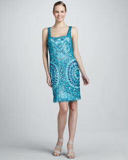 Aidan Mattox Square-Neck Beaded Cocktail Dress