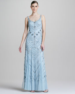 Aidan Mattox Beaded Scoop-Neck Chiffon Gown