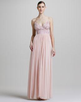 Aidan Mattox Bead-Bodice Cami Gown