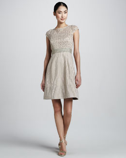 Kay Unger New York Cocktail Dress with Lace & Sequined Bodice