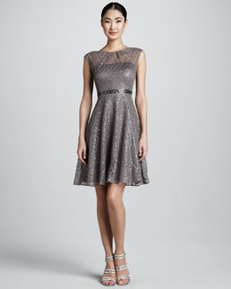 Kay Unger New York Lace & Sequined Fit-and-Flare Dress