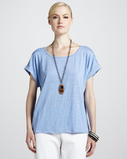 Eileen Fisher Boxy Linen Jersey Top
