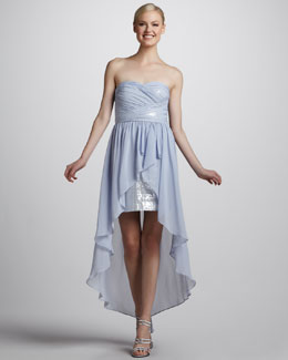Aidan by Aidan Mattox Strapless Cocktail Dress with Hi-Lo Hem