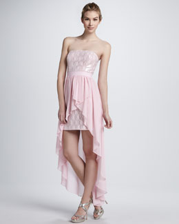Aidan by Aidan Mattox Sequined Strapless Cocktail Dress