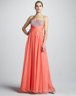 La Femme Boutique Strapless Gown with Crisscross Back