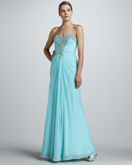 La Femme Boutique Strapless Gown with Beaded Bodice