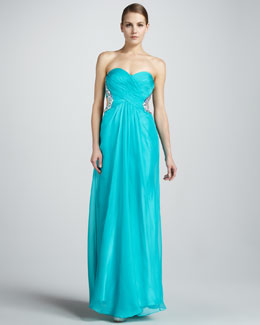 La Femme Boutique Strapless Gown with Open Back