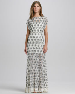 Alice + Olivia Risa Boat-Neck Lace Gown