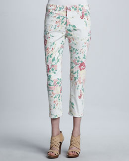 NYDJ Painted Bouquet Kendall Cuffed Ankle Pants