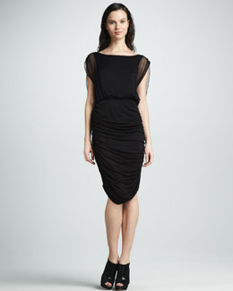Alice + Olivia Drape-Back Ruched Dress